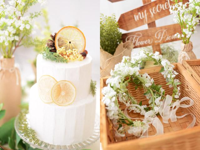 おしゃれなフォトブースが人気のイベントフォト手作りクレイケーキと花冠